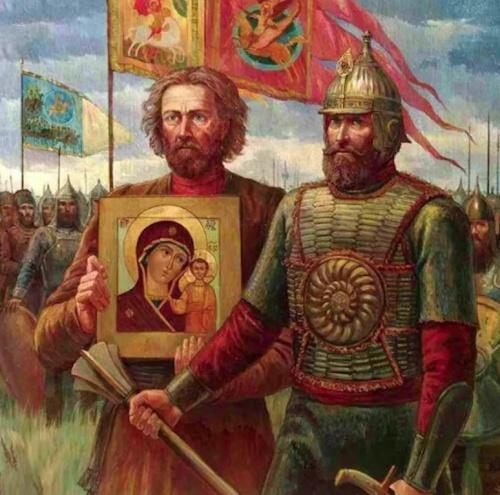 минин и пожарский с иконой казанской божьей матери