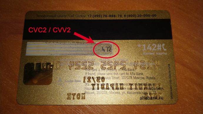 CVV2 на банковской карте