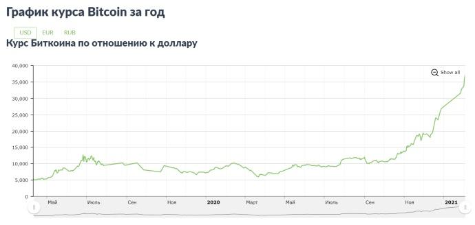 Курс Биткоина в долларах за последний год