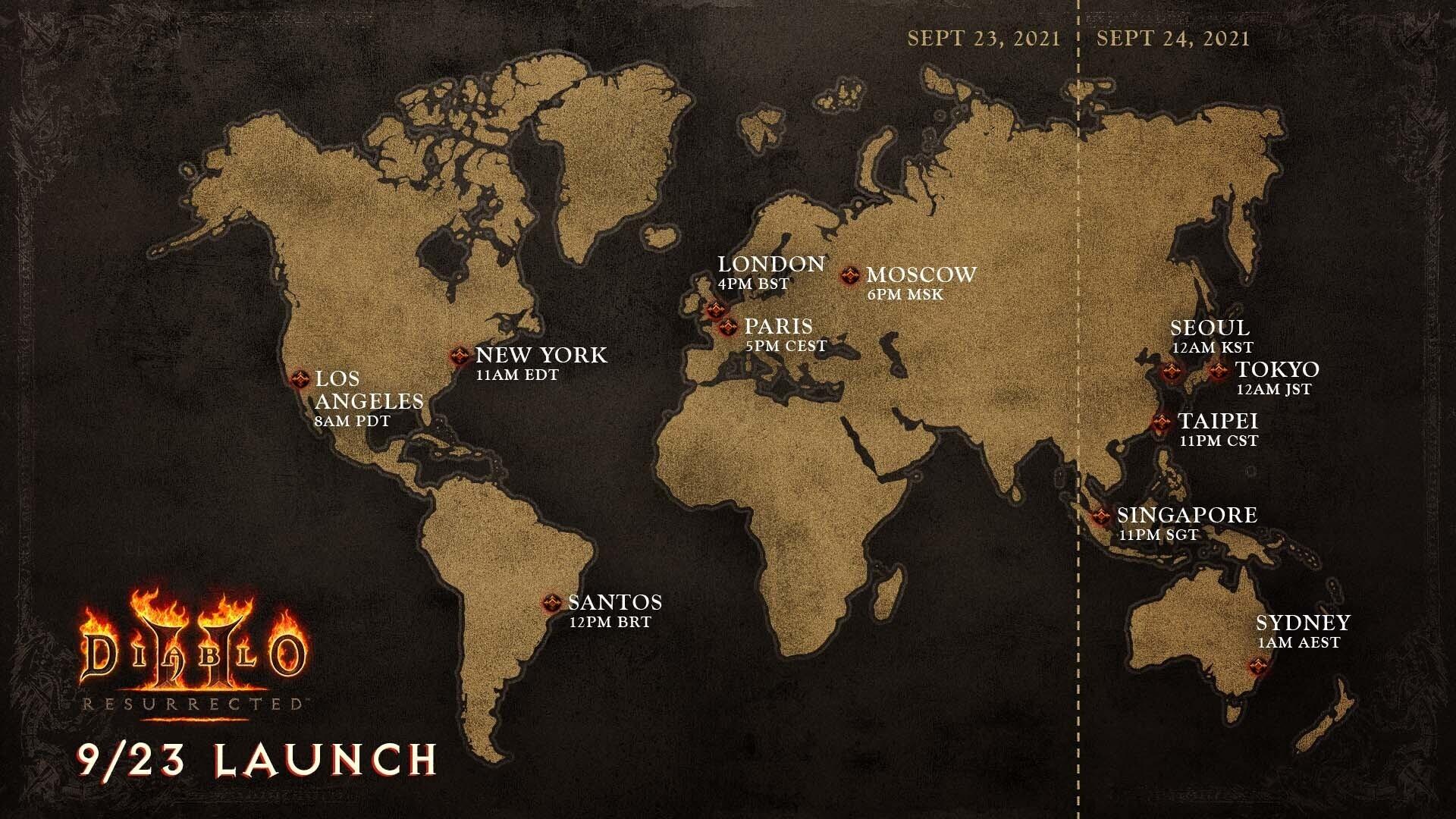 Diablo 2 resurrected время выхода в разных регионах