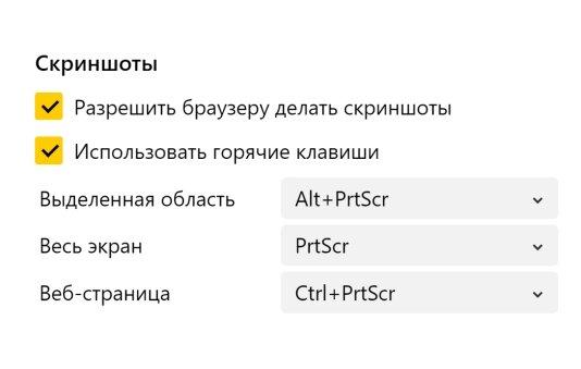 Скриншоты в Яндекс Браузере